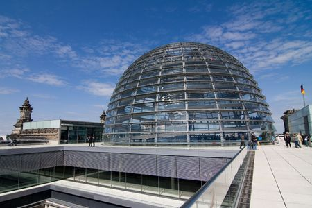 copula: Glass Dome Architecture Of The German Parliament Reichstag in Berlin Stock Photo