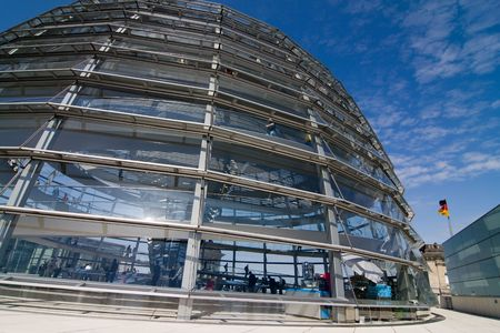 dome building: Glass Dome Architecture Of The German Parliament Reichstag in Berlin Stock Photo