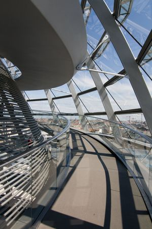 Glass Dome Architecture Of The German Parliament Reichstag in Berlin Stock Photo