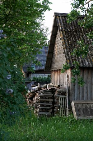 Old wooden hovel with stack of firewoods photo