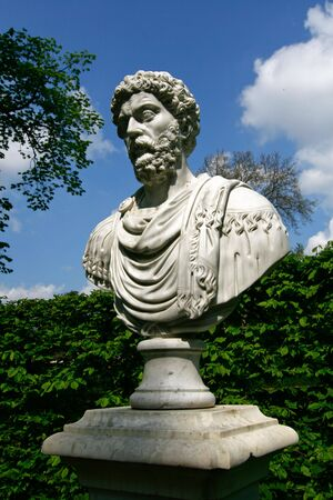 sans: Marble statue at Schloss Sans souci in Potsdam, Germany