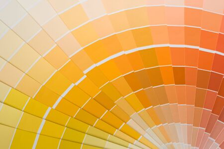 Abstract background of color swatches, color guides, close up. Stock Photo