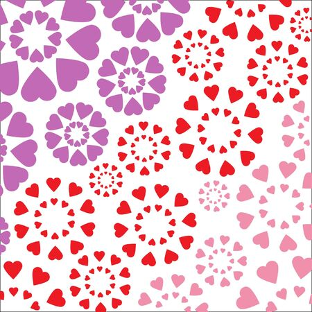 Romantic pattern with hearts on a white background. Stock Photo