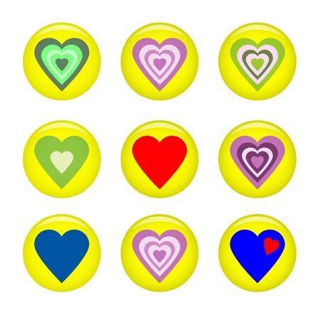 vector illustration of glossy valentine heart pins