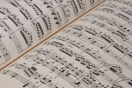 Closeup of classical music sheets on an old paper     Stock Photo