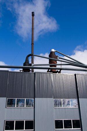 Little local renovated wood burning powerplant Stock Photo
