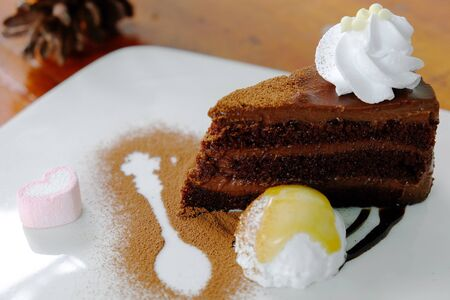 Slice of chocolate cake with whipping cream Stock Photo