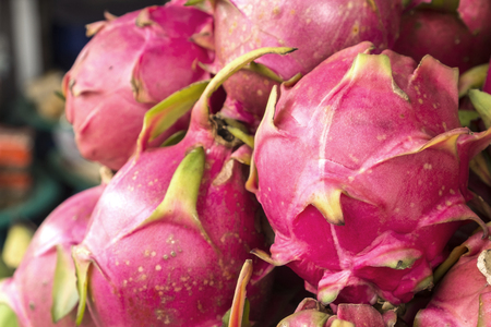 Lot of dragon fruits in the market Stock Photo