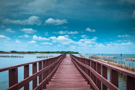 The end bridge and bamboo line slow down wave prevent coastal erosion. Stock Photo