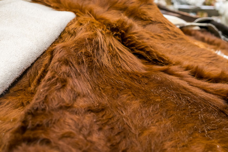 Brown rugs cow leather. Stock Photo