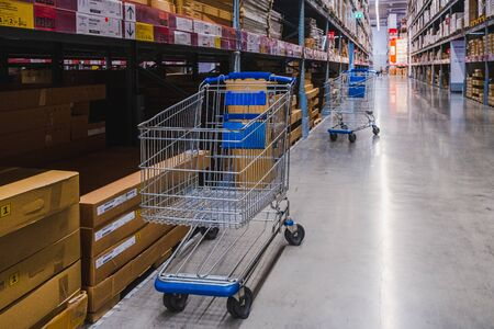 Smut Prakan, Thailand - September 26,2019 : 2 cart in warehouse aisle in an IKEA store. IKEA is the world's largest furniture retailer.
