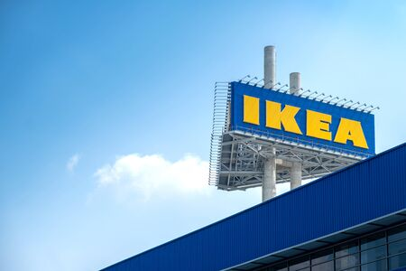 Samut Prakan ,Thailand - October 03,2019 :IKEA furniture company logo on building exterior,KEA is the world's largest furniture retailer and sells ready to assemble furniture.