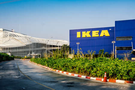 Samut Prakan ,Thailand - January 26,2020 :Entrance to the ikea store,IKEA furniture company logo on building exterior,KEA is the world's largest furniture retailer and sells ready to assemble furniture. Redakční