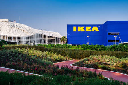 Samut Prakan ,Thailand - January 26,2020 :IKEA furniture company logo on building exterior,KEA is the world's largest furniture retailer and sells ready to assemble furniture.