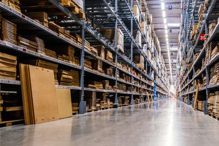 Samut Prakan ,Thailand - January 26,2020 : Warehouse aisle in an IKEA store. IKEA is the world's largest furniture retailer.