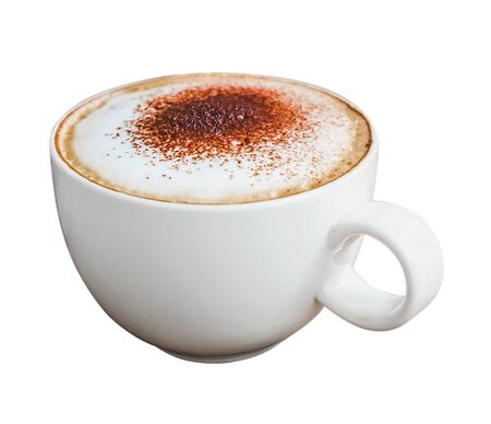 Cappuccino coffee in a white cup isolated on a white background.