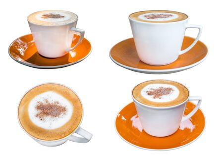 Cappuccino coffee in white cup isolated on a white background.