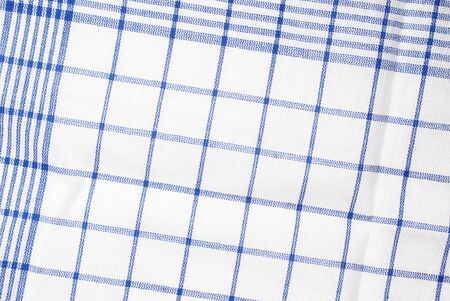 Detail of blue and white dishtowel. Stock Photo
