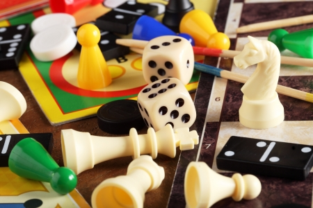 board games: Board games, pawns, chessmen, dominoes and dices