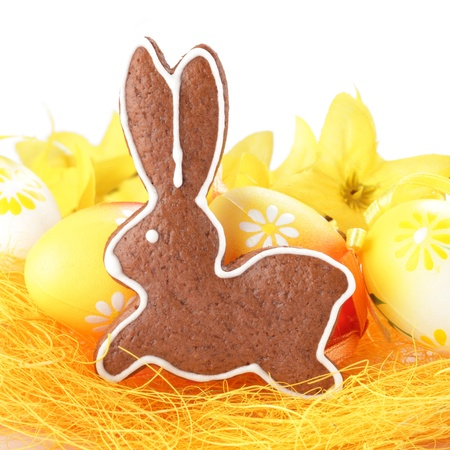Close-up of Easter gingerbread cookie and Easter eggs photo