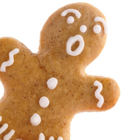 gingerbread man: Close-up of gingerbread man on white background