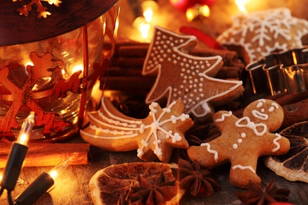 Gingerbread cookies, spices and Christmas lights