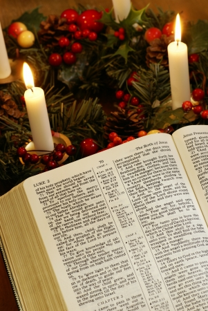 soul searching: Open Bible and advent wreath