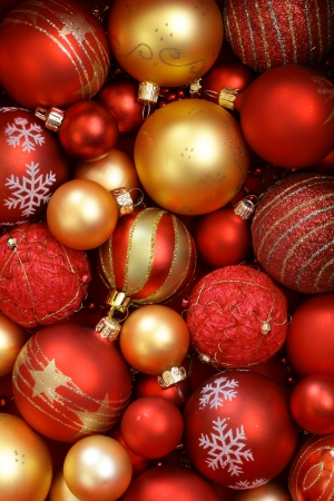 christmas ornaments: Red and golden Christmas ornaments