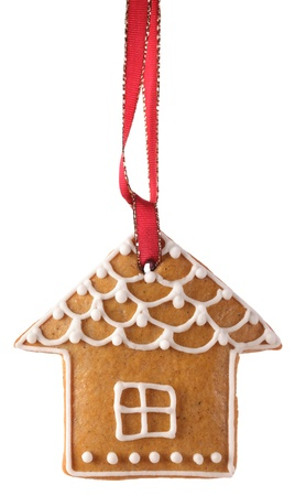 gingerbread cookie: Christmas gingerbread cookie hanging on white background
