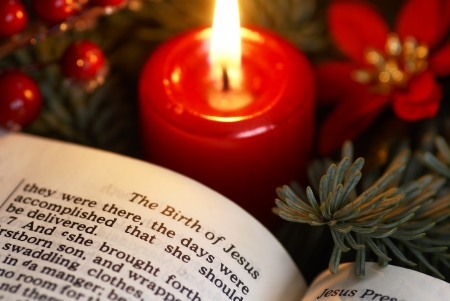Open Bible and Christmas decorations. Stock Photo
