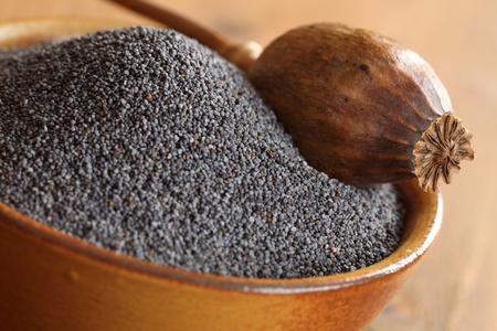poppy seeds: Bowl with poppy seeds and dry poppy pod