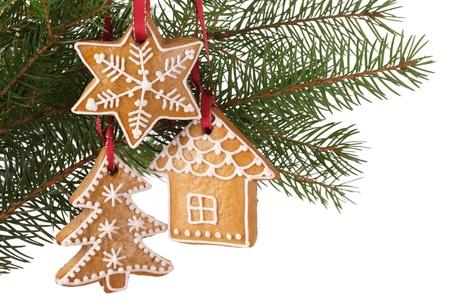 크리스마스 진저 쿠키는 나뭇 가지에 걸려