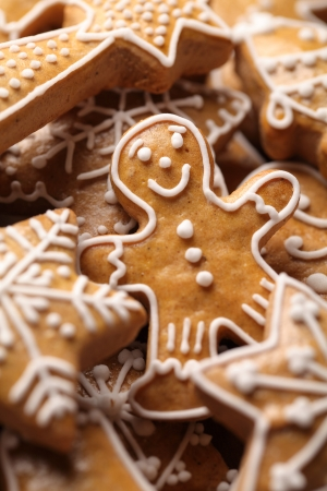 Close-up of Christmas gingerbread cookies photo