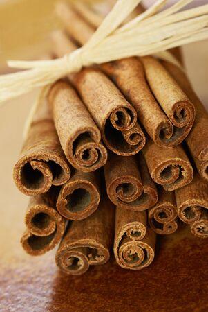 cinnamon stick: Close up of cinnamon sticks. Stock Photo