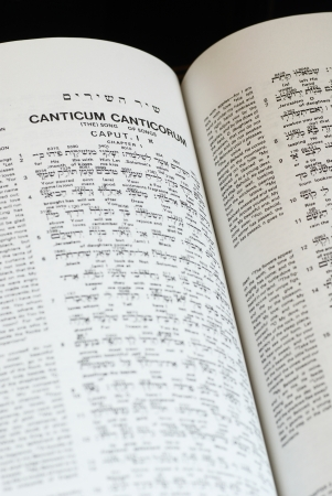 hebrew script: Close-up of the interlinear Bible - Hebrew, Greek and English Stock Photo