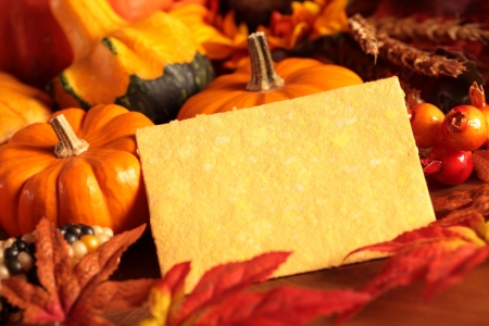 Arangement of pumpkins and autumn decorations on wooden background with paper copy space.