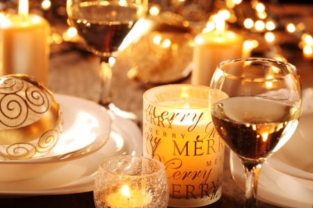 Holiday setting and decorations on table Stock Photo