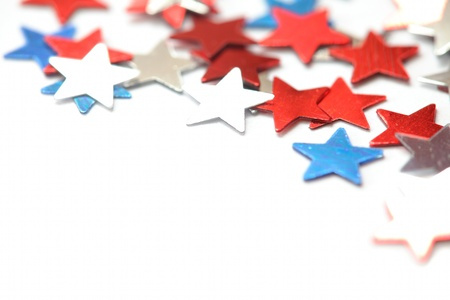 Red, white and blue stars on white background