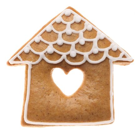 Christmas gingerbread cookie on white background.