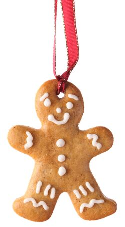 gingerbread cookie: Christmas gingerbread cookie hanging on white background.