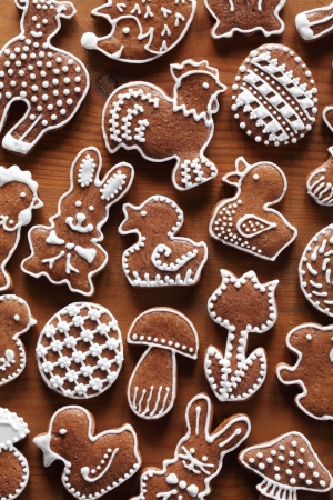 Easter gingerbread cookies on wooden background Stock Photo