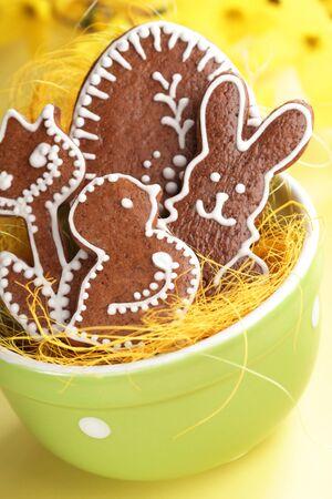 Easter gingerbread cookies in bowl.