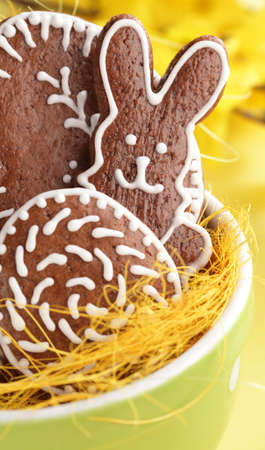 Easter gingerbread cookies in bowl. photo