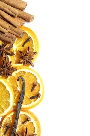 stick of cinnamon: White background with orange slices and spices border