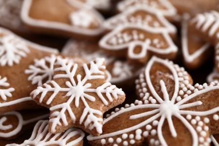 クリスマスのジンジャーブレッドのクッキーのクローズ アップ