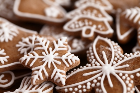 christmas gingerbread: Close-up of Christmas gingerbread cookies