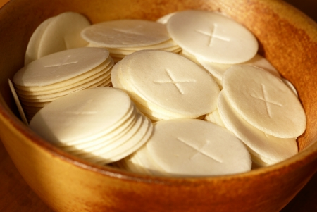 communion: Close-up of communion waffers in a bowl Stock Photo
