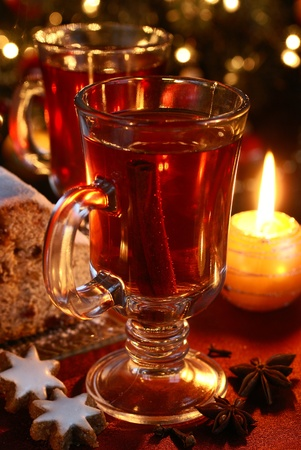 Tea with spices and Christmas decorations  photo