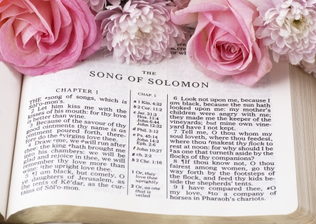 Holy Bible opened on Song of Solomon and flowers. Banque d'images