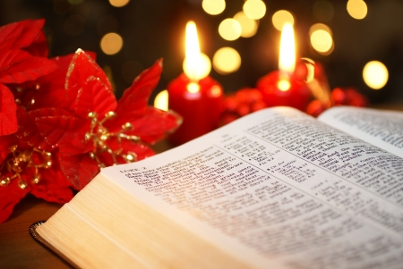 advent: Open Bible with Christmas story and Christmas decorations